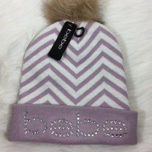 BEBE Pom Pom Beanie Winter Hat Rhinestone Pink